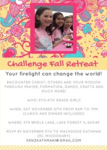 Join Us For the Fall Retreat. You do not have to be in Challenge to come!